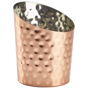 Angled Copper Plated Serving Cup Hammered 9.5cm