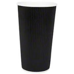 Black Ripple Disposable Paper Coffee Cups 20oz / 453ml
