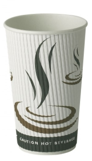 Weave Wrap Ripple Disposable Paper Coffee Cups 16oz / 453ml